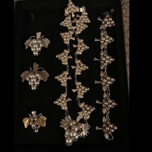 Taxco Mexico Sterling Silver Grape Jewelry Set